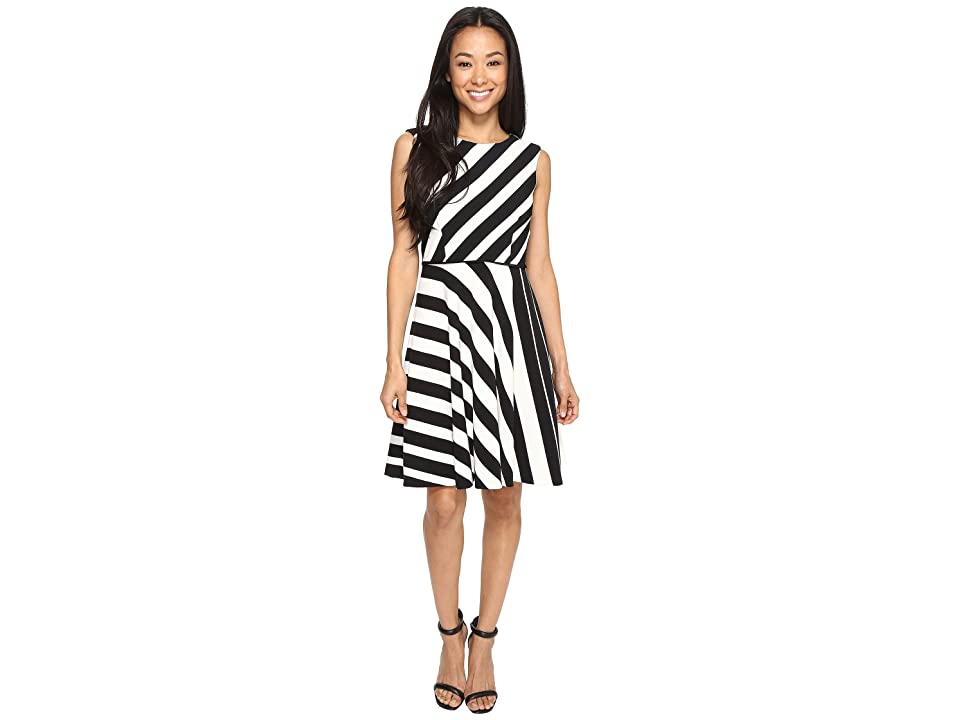 Tahari by ASL Petite Crepe Multi Stripe A-Line Dress (Black/Ivory) Women