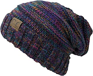 CC Womens Multicolor Oversized Baggy Warm Slouchy Cable Knit Winter Beanie