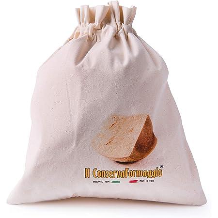Bergamaschi & Vimercati Il Portaformaggio Sacchetto Salvafreschezza per Formaggi, Cotone, Panna, Dimensioni: 32 x 28 cm