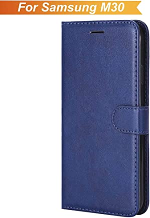 WOW Imagine Leather Finish Case | Inside TPU | Wallet Stand | Shock Proof | Magnetic Closure | 360 Degree Complete Protection Flip Cover for Samsung Galaxy M30 M 30 - Blue