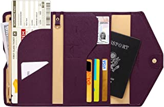 Lazoppent Passport Holder Travel Wallet Tri-fold Document Organizer Passport Cover Case