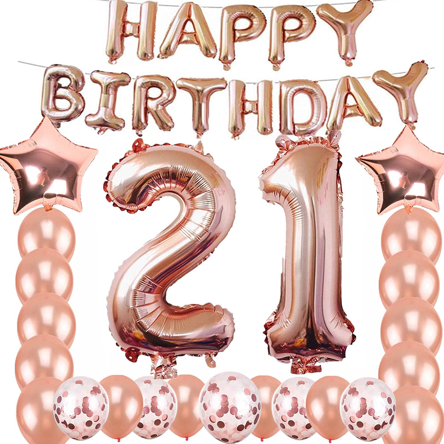 21st Birthday Decorations Party Supplies, Jumbo Rose Gold Foil Balloons for Birthday Party Supplies,Anniversary Events Decorations and Graduation Decorations Sweet 21 Party,21st Anniversary