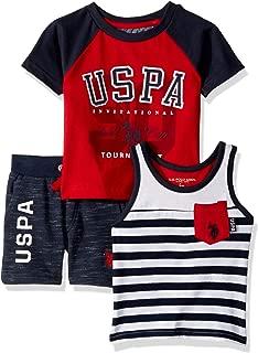 U.S. Polo Assn. Baby Boy's 3 Piece Short Sleeve T-Shirt, Tank Top, and Short Shorts