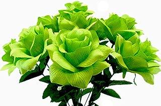 Open Rose Bush 12 Artificial Silk Flowers 18