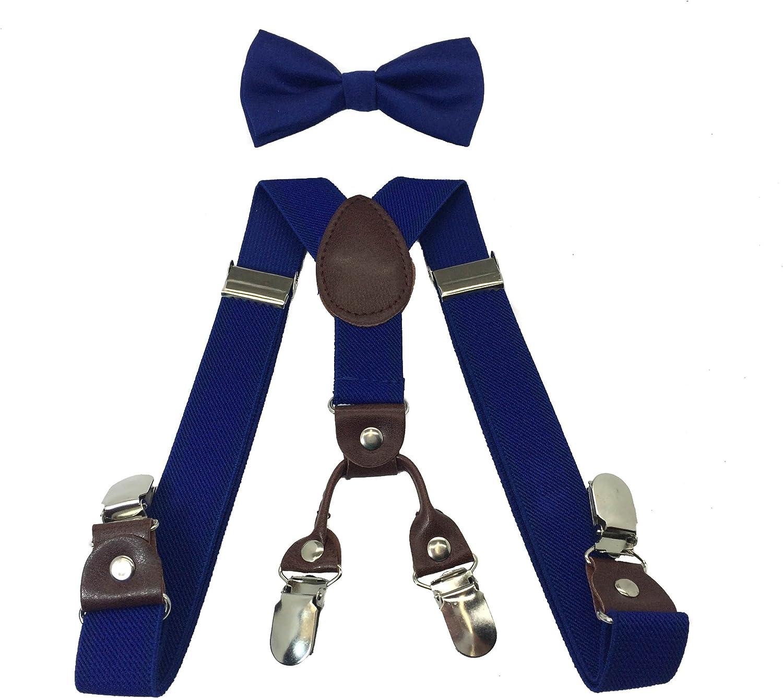 Boys Girls Kids Child Children 4 Clips Special Design Elastic Suspenders & Bow Tie (Royal Blue)