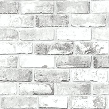 Debona Wallpaper White Brick Effect 6751 Full Roll Amazon Co Uk Diy Tools