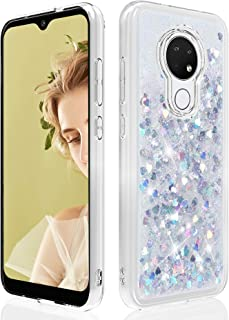 Dzxouui for Cricket Ovation Case,AT&T Radiant Max U705AA Case,Girls Women TPU Clear Protective Cover with Moving Quicksand Glitter Cute Phone Cases for Cricket Ovation(Silver)