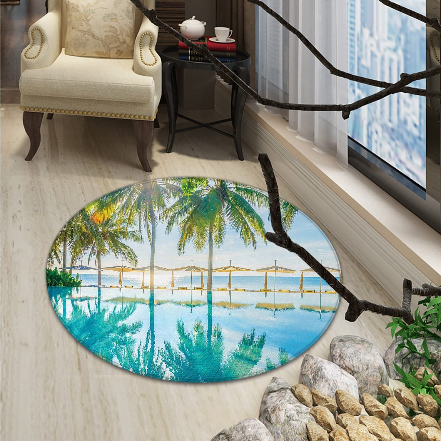 Landscape Round Rug Kid Carpet Pool by The Beach with Lights Seasonal Eden Hot Sunny Humid Coastal Bay PhotoOriental Floor and Carpets Green bluee