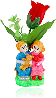 KARTIK Cute Love Couple Statue red Rose Anniversary and Valentine Gifts for Girlfriend Boyfriend