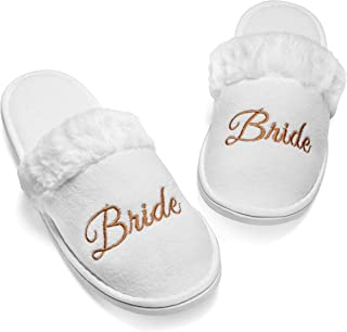 Bride Slipper | Furry House Slippers for Women | Wedding Shoes for Bride, Bridal Flats, Wifey Slippers | Bride Tribe Bride...