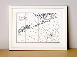 Florida Keys, Letterpress Map Unframed Print