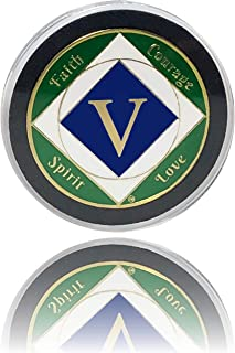Simply Minimal 5 Year NA Gold Plated Recovery Clean Time Coin, Medallion + Plastic Capsule, Display Case (Blue/Green)