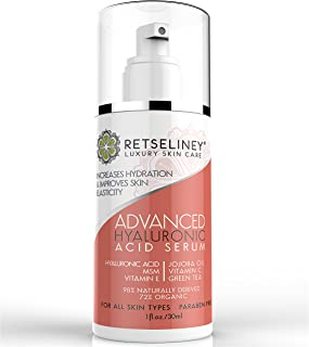 Retseliney Vegan Hyaluronic Acid Serum for Face, Best Anti Wrinkle & Anti Aging Serum with Vitamin C, Vitamin E and Green Tea, Organic & Natural, Facelift, Will Plump & Hydrate Dull Skin