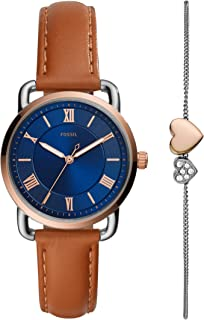 Fossil Copeland Women's Blue Dial Leather Analog Watch - ES4913SET