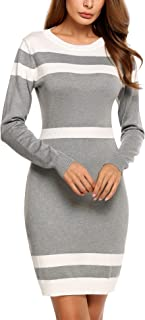 Beyove Women's Colorblock Striped Long Sleeve Cotton Knit Sweater Bodycon Dress