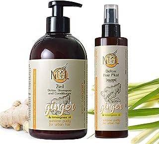 NGGL, trattamento spa vegan detossificante e purificante, shampoo e balsamo 2 in 1 500 ml + spray hair mist protettivo UV ...