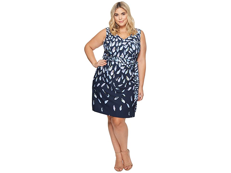 Adrianna Papell Plus Size Fluttering Beauty Printed Knit Crepe Fit Flare Dress (Navy Multi) Women