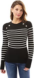 PattyBoutik Women Crewneck Striped Military Sweater