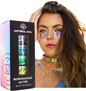 Biodegradable Body Glitter Set of Six (6) colors (30G) Chunky Rainbow body, face, hair eco glitter by Universal Soul, Pin...