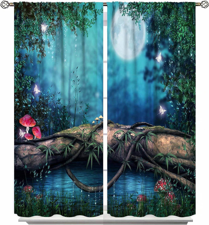 Anime unisex Fantasy Butterfly Trees Moon Mushroom Curtains High material Window Myst