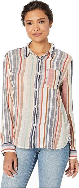 c47b6d4d 4. Dylan by True Grit. Summertime Stripes Long Sleeve One-Pocket Shirt