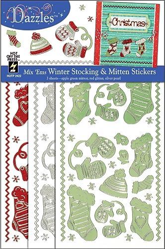 Dazzles Stickers Mix 'Ems TriFarbe 3 Pkg-Grün, rot & Silber Stockings & Mittens