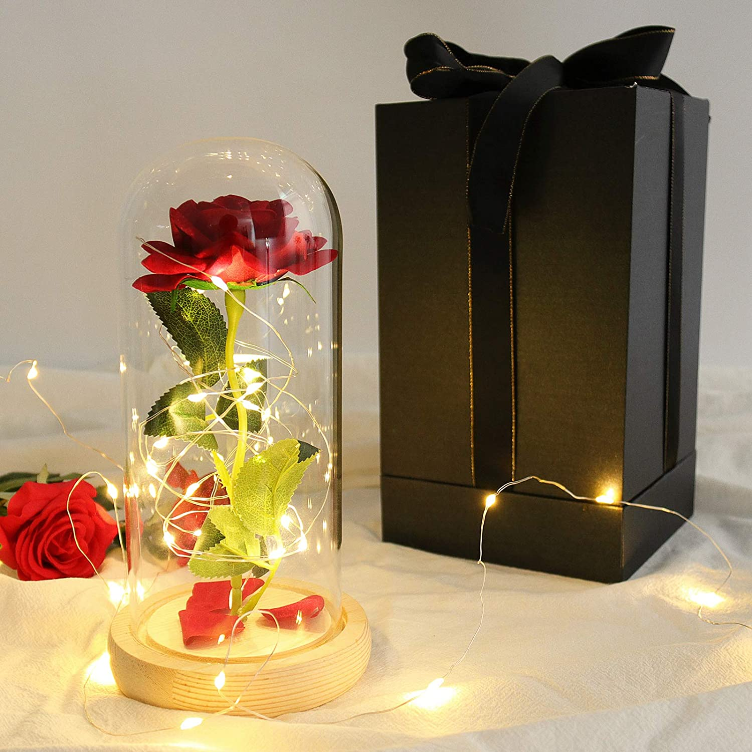 Beauty and The Sale special price Selling rankings Beast Rose Artificial with Dome in Roses Wo Glass