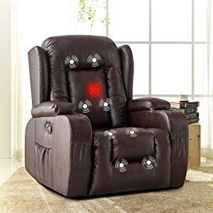 XRHOM Recliner Chair for Living Room Massage Heated Reclining Chair PU Leather Chair with Cup Holder USB Ports Sofa Chair Ergonomic Modern Home Theater Seating Recliners,Brown