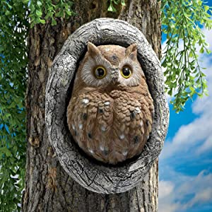 Owl Tree Hugger Statue, LUOWAN Elf Polyresin Animal Tree Hugger Sculpture, Whimsical Resin Sculpture in Outdoor Garden Decoration, 9.4x6.89 Inch