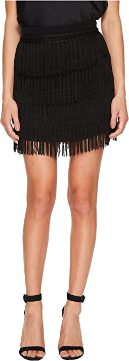 Jack by BB Dakota - Margarite Satin-Backed Crepe Skirt with Multi-Layer Fringe