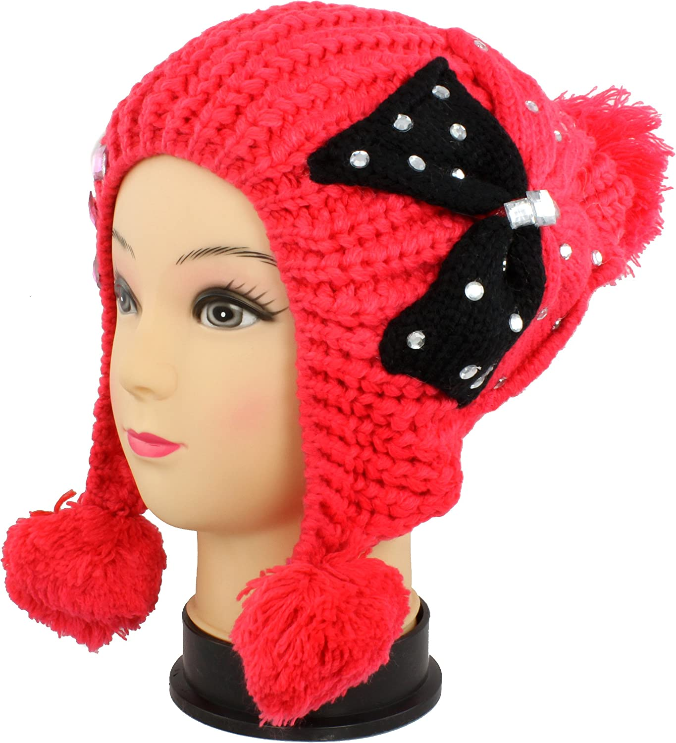 Faddism BEANRD1 Red Women Stylish Beanie with Sparklings in Red Design, Warm and Cozy, Perfect Gift Idea Embellished with Beautiful Rhinestone