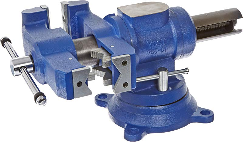Yost Vises 750 DI 5 Heavy Duty Multi Jaw Rotating Combination Pipe And Bench Vise With 360 Degree Swivel Base And Head