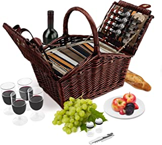 Wicker Picnic Basket   4 Person Deluxe Double Lid Style Woven Willow Picnic Hamper   Built-In Cooler   Ceramic Plates, Stainless Steel Silverware, Wine Glasses, S/P Shakers, Bottle Opener (Dark Brown)