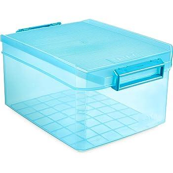 TATAY 1150119 - Caja de Almacenamiento Multiusos con Tapa, 14 l de Capacidad, Plástico Polipropileno Libre de BPA, Turquesa Translúcido, 27 x 39 x 19 cm: Amazon.es: Hogar