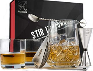 The Elan Collective Stir it Down Old Fashioned Cocktail Set | 8 Piece Barware Kit = Includes 750ml/25oz. Yarai Style Mixing Glass, 2-10 oz. Rocks Glasses, Hawthorne Strainer, Bar Spoon and 2 Picks