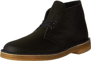 clarks desert boot black tumbled leather