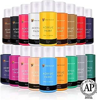 Lots de 18 flacons de peinture acrylique Color Technik 59 ml Les meilleures couleurs pour la peinture sur toile, bois, arg...