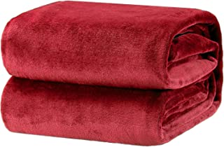 Bedsure Fleece Blanket Twin Size Red Lightweight Super Soft Cozy Luxury Bed Blanket Microfiber