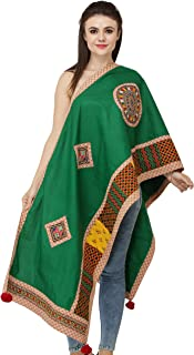 Exotic India Printed Dupatta from Kutch with Embroidered Patchwork and Mirrors