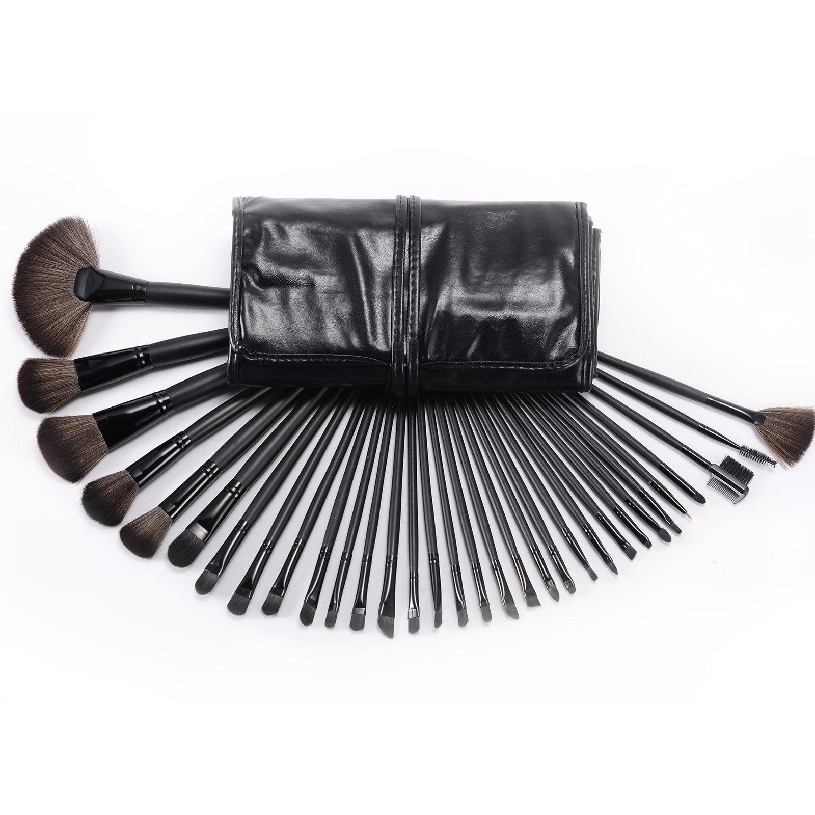 CLE DE TOUS - Set de 32 Brochas Pinceles para Cosmetico Maquillaje Pincel Brocha con Estuche Manta Negra para Fiesta Navidad: Amazon.es: Bricolaje y herramientas