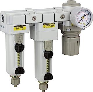 "PneumaticPlus SAU3030M-N03G-MEP Three Stage Air Drying System - Air Particulate Filter, 0.3 Micron Coalescing Filter & Air Pressure Regulator Modular Combo 3/8"" NPT - Manual Drain, Metal Bowl"