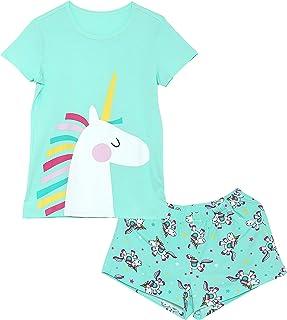 Girls Unicorn Pajamas - 100% Cotton Short Sleeve Tee & Shorts Summer Jammies Set Sleepwear Size 2T-16