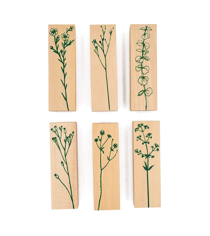MissOrange『木製ゴム印セット』花のスタンプ 復古風 クリエイティブスタンプセット クラフトカード スクラップブッキング 手帳用 6個セット (6個セット)
