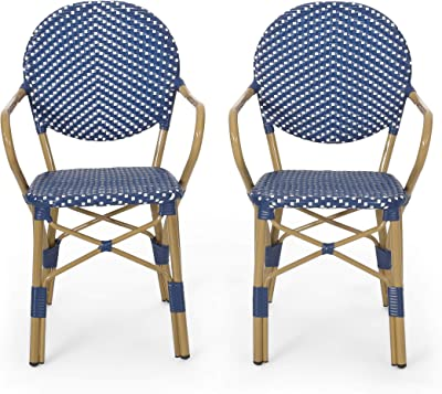 Christopher Knight Home 314441 Paul Outdoor Bistro Chair, Dark Teal + White + Bamboo Finish