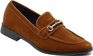 Enzo Romeo Pucci01 Men Dress Loafers Horse Bit Moc Toe Penny Loafer Buckle Slip on Tuxedo Dress Shoes