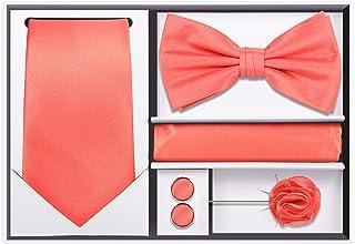 5pcs Tie set in a gift box : Tie sets : Solid color Neck tie,Satin Bow tie,Pocket Square, Lapel, Cuffs link