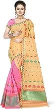 S Kiran's Women's Cotton Blend Saree With Unstitched Blouse Piece, Unstitched Mekhela & Chador (Nuni3002YellowPink_Multicolored)