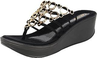 Catwalk Black Slip-on Sandals for Women's