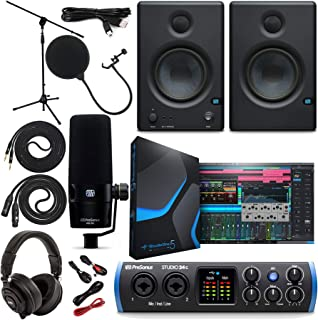 PreSonus Studio 24c 2x2 USB Type-C Audio/MIDI Interface with Studio One 5 Artist Software Pack w/Eris 3.5 Pair Studio Monitors and PreSonus PD-70 Vocal Dynamic Microphone with XLR Cable