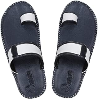 Emosis Men's Slipper Cum Sandal - Latest & Stylish Synthetic Leather - for Outdoor Formal Office Casual Ethnic Daily Use - Available in Tan Brown Black Beige White Blue Color - 0312M